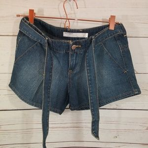 Old Navy Shorts Distressed Denim Tie Belt Accent